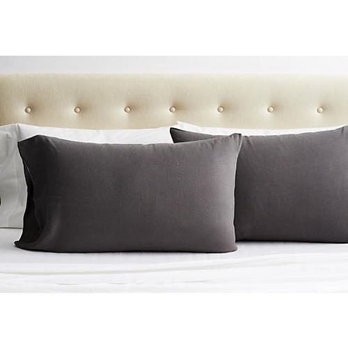 S/2 Washed Linen Pillowcases, Coal