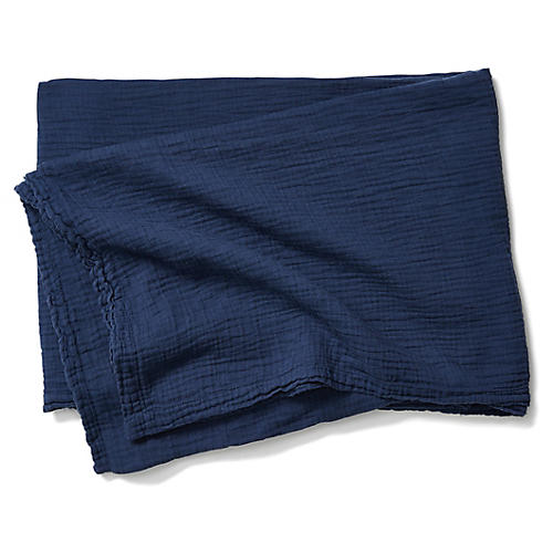 Mesh Cotton Throw, Indigo