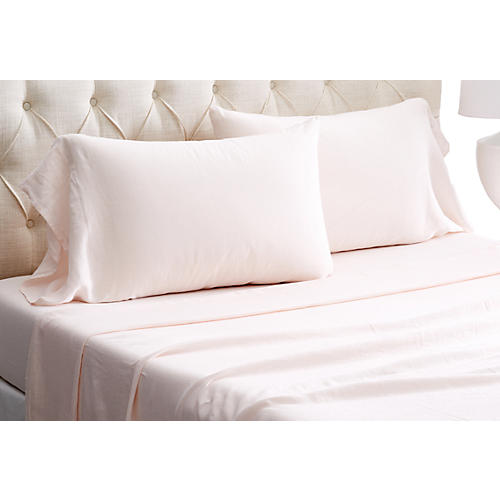 Washed Linen Sheet Set, Blush