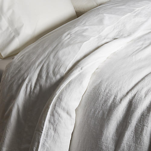 Washed Linen Duvet Cover, White