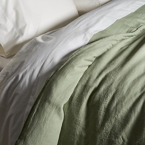 Washed Linen Duvet Cover, Olive