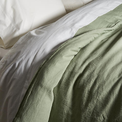 Washed Linen Duvet Cover, Olive