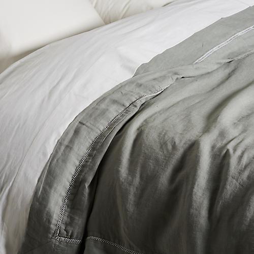 Hemstitch Duvet Cover, Gray