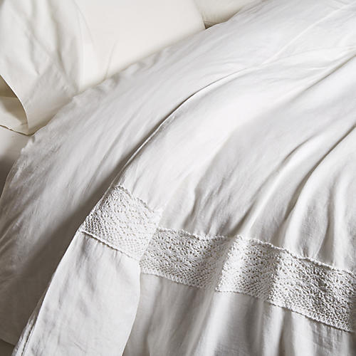 Crochet Duvet Cover, White