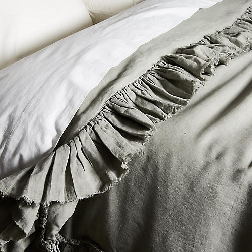 Tattered Linen Duvet Cover, Gray