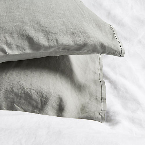 S/2 Washed Linen Shams, Gray
