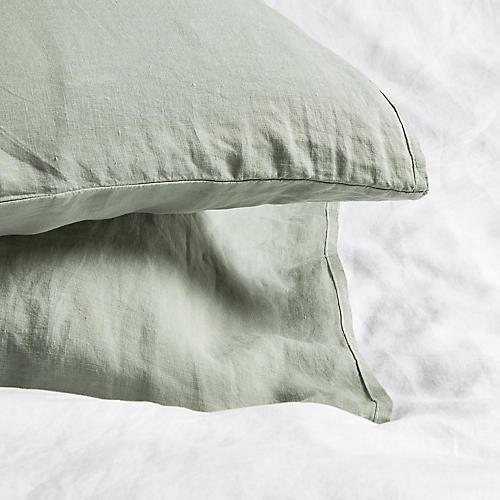 S/2 Washed Linen Shams, Olive