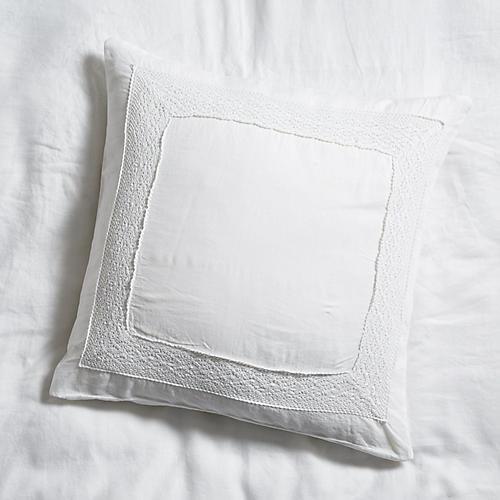 S/2 Crochet Euro Shams, White