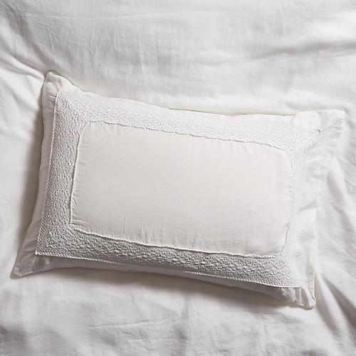 S/2 Crochet Shams, White
