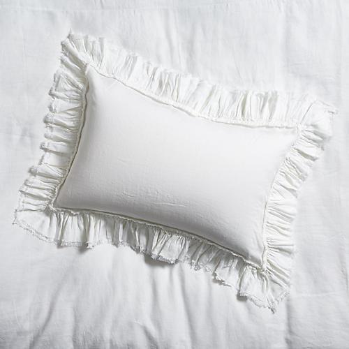 S/2 Tattered Linen Shams, White