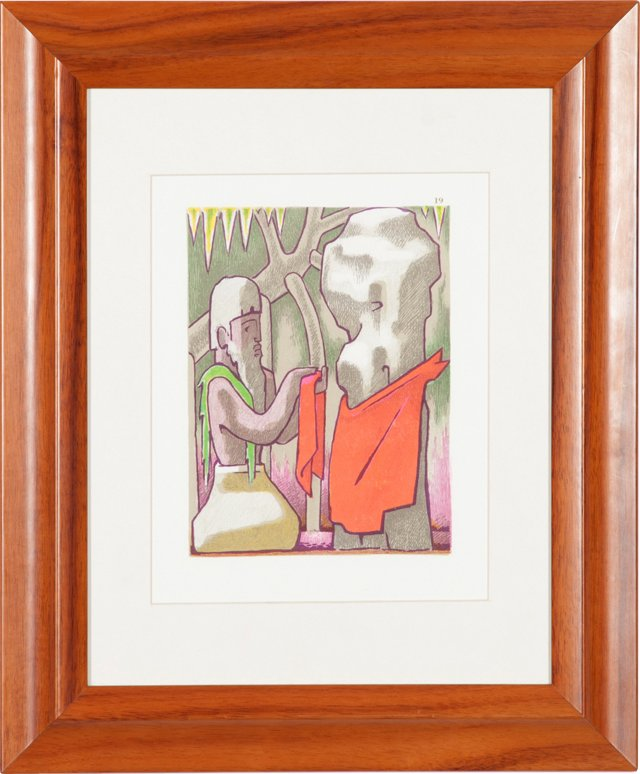 Priest w/ God Stone Lithograph