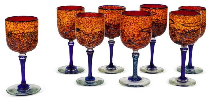 Art Glass Wine Glasses, Set of 8
