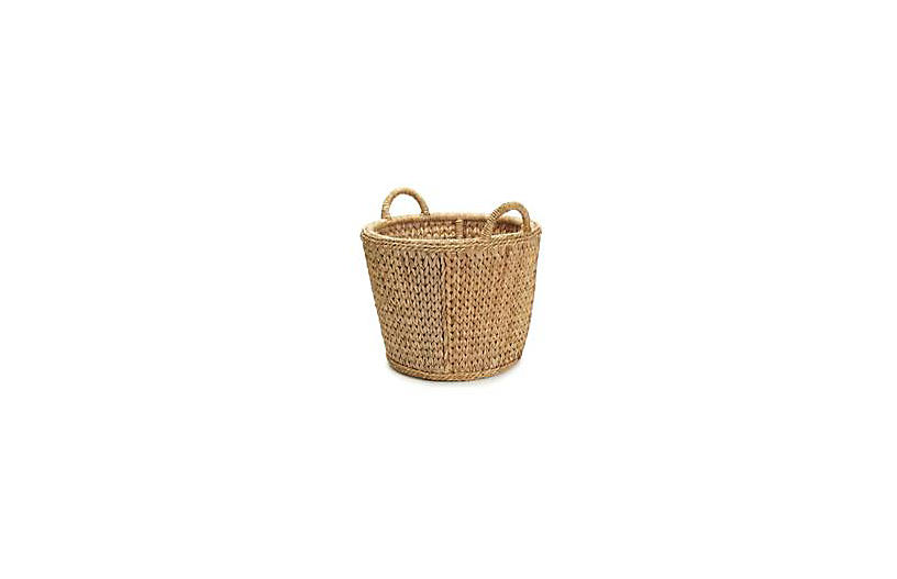 English Rattan Towel Basket, 22