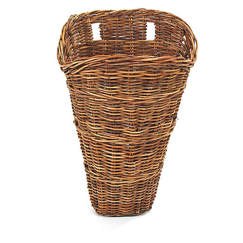French Country Wall Basket, Wicker