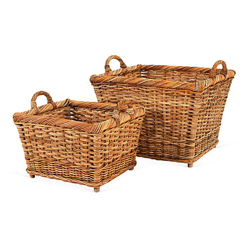 S/2 French Country Hearth Baskets, Natural