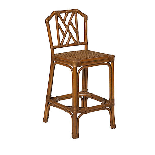Alcom Rattan Counter Stool, Chestnut