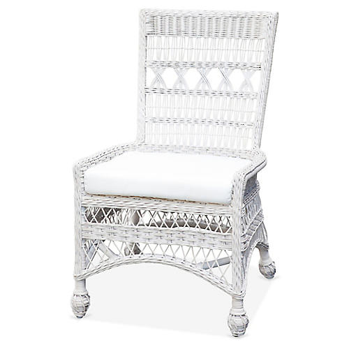 Bar Harbor Wicker Side Chair, White