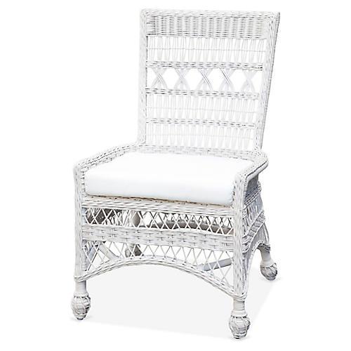 Bar Harbor Wicker Side Chair, White