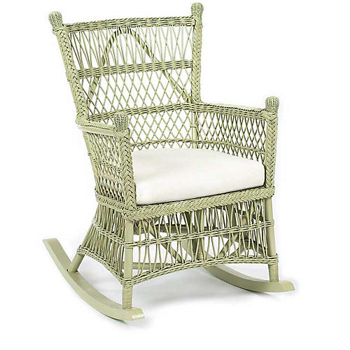 Beehive Wicker Rocking Chair, Pale Sage