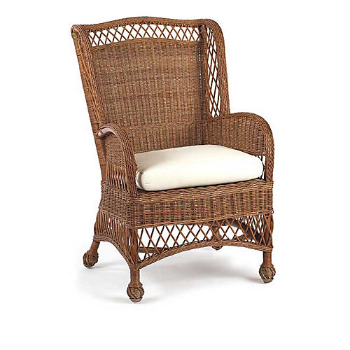 Conservatory Wicker Accent Chair, Chestnut