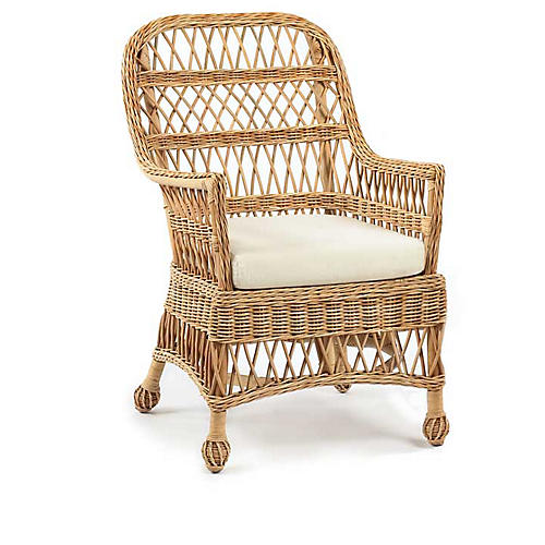 Vineyard's Wicker Accent Chair, Natural/White