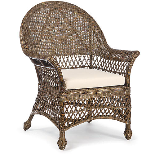 Vineyard's Wicker Armchair, Walnut