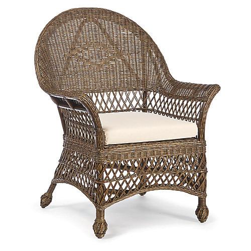 Vineyard's Wicker Armchair, Dark Walnut