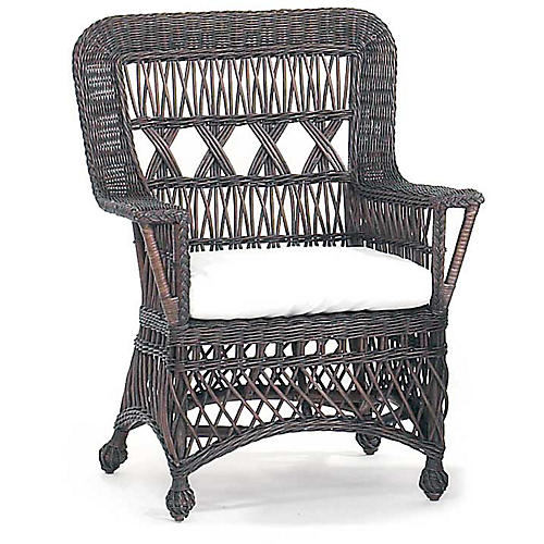 Loggia Wicker Accent Chair, Dark Walnut