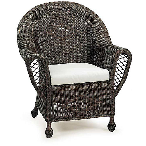 Cape Heirloom Wicker Armchair, Dark Walnut