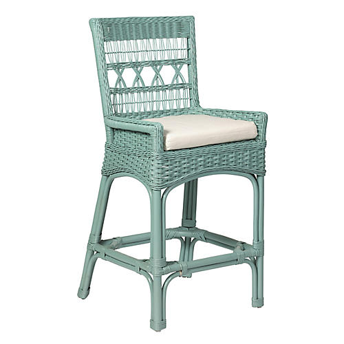 Bar Harbor Wicker Counter Stool, Sky Blue