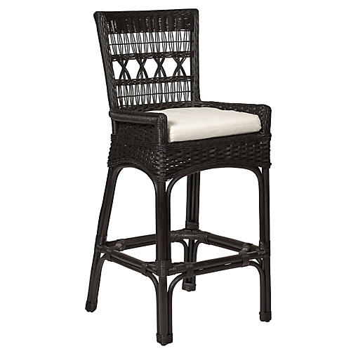 Bar Harbor Wicker Barstool, Dark Walnut