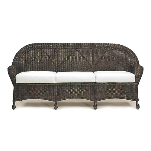 Eastern Shore Wicker Sofa, Dark Walnut