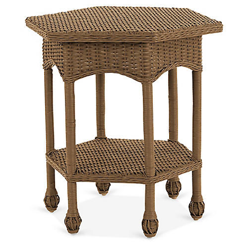 Wicker Side Table, Chestnut