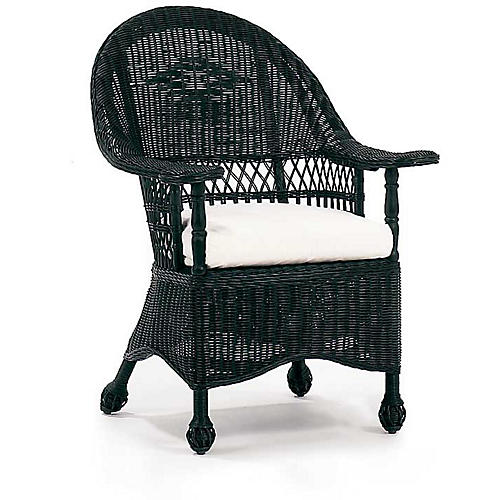 Paddle Wicker Armchair, Black
