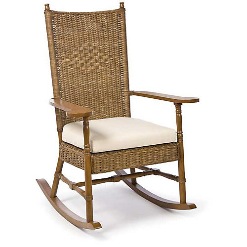 Hampton's Wicker Rocking Chair, Chestnut