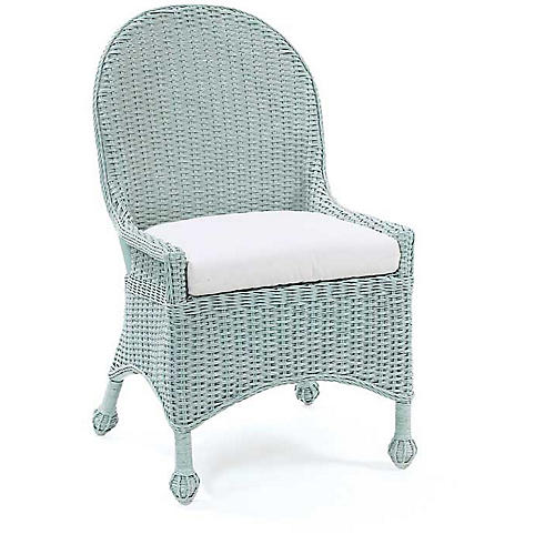 Eastern Shore Wicker Side Chair, Sky Blue