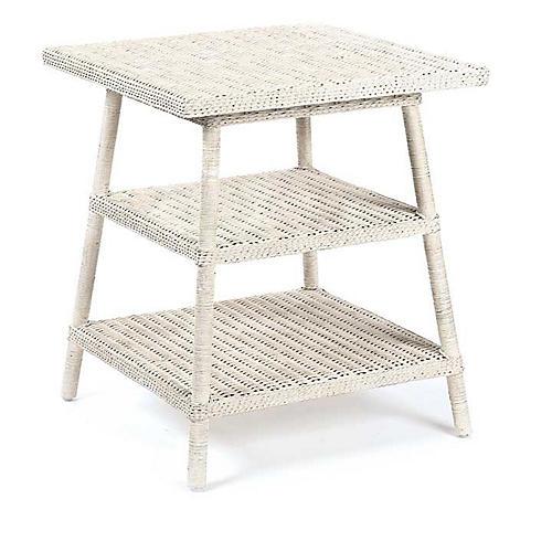 Loft Wicker Side Table, Antiqued White