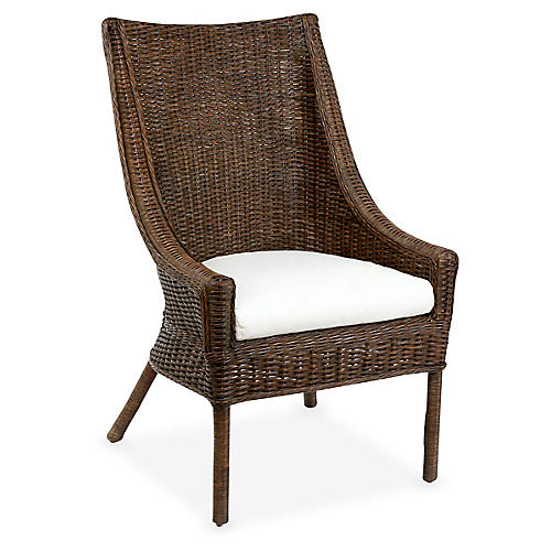 Brookhaven Wicker Armchair, Dark Walnut