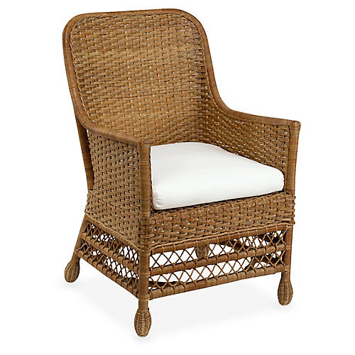 Catalina Wicker Armchair, Chestnut