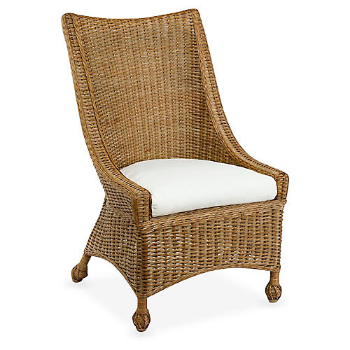 Wicker Side Chair, Chestnut