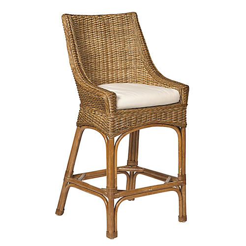 Brookhaven Wicker Counter Stool, Chestnut