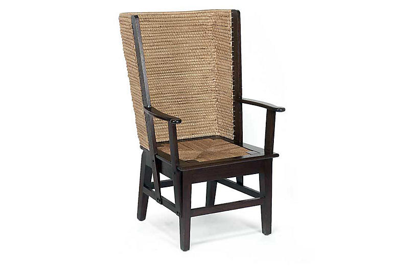 Orkney Raffia Wingback Armchair, Mahogany