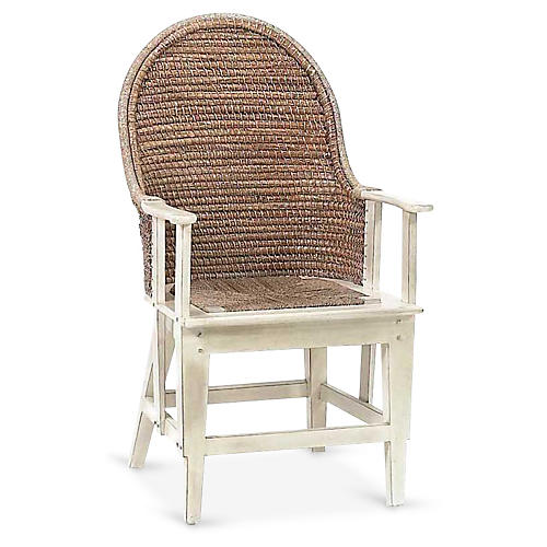 Orkney Raffia Armchair, Antiqued White