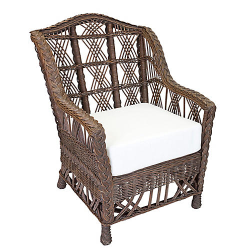 Carolina Wicker Club Chair, Dark Walnut
