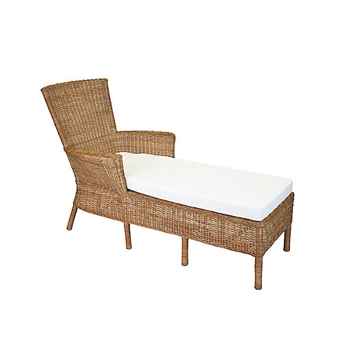 Sausalito Wicker Chaise, Chestnut