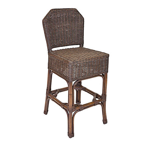 Sausalito Wicker Barstool, Dark Walnut