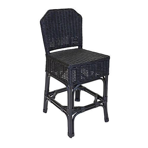 Sausalito Wicker Counter Stool, Black