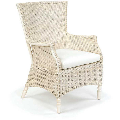 Eastern Shore Wicker Armchair, Antiqued White