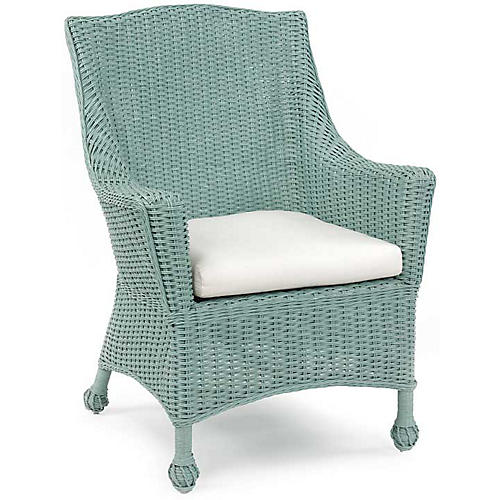Eastern Shore Wicker Armchair, Sky Blue
