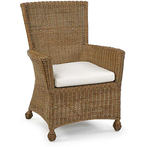 Eastern Shore Wicker Armchair, Chestnut